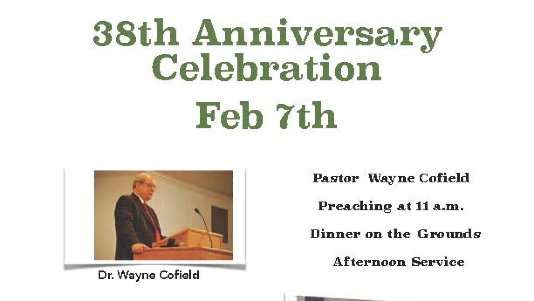 Area Meeting: 38th Anniversary Celebration – Whitfield Baptist Church – Dalton, Ga