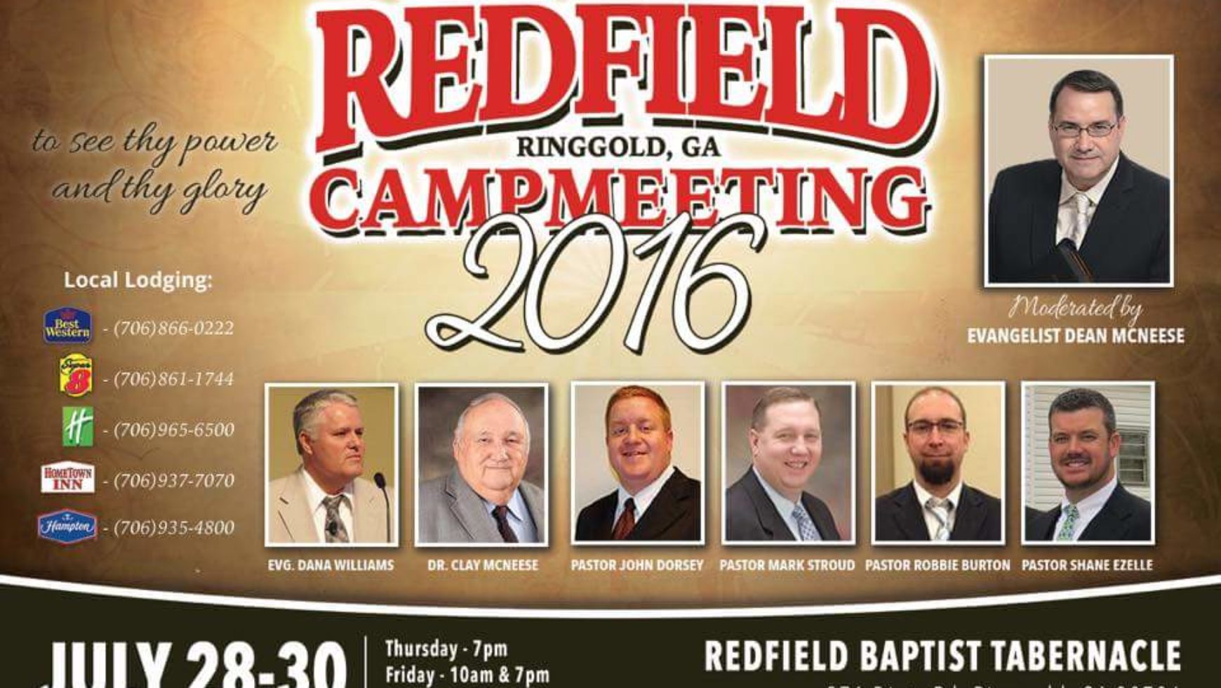 Area Meeting: Camp Meeting – Redfield Baptist Tabernacle – Ringgold, GA
