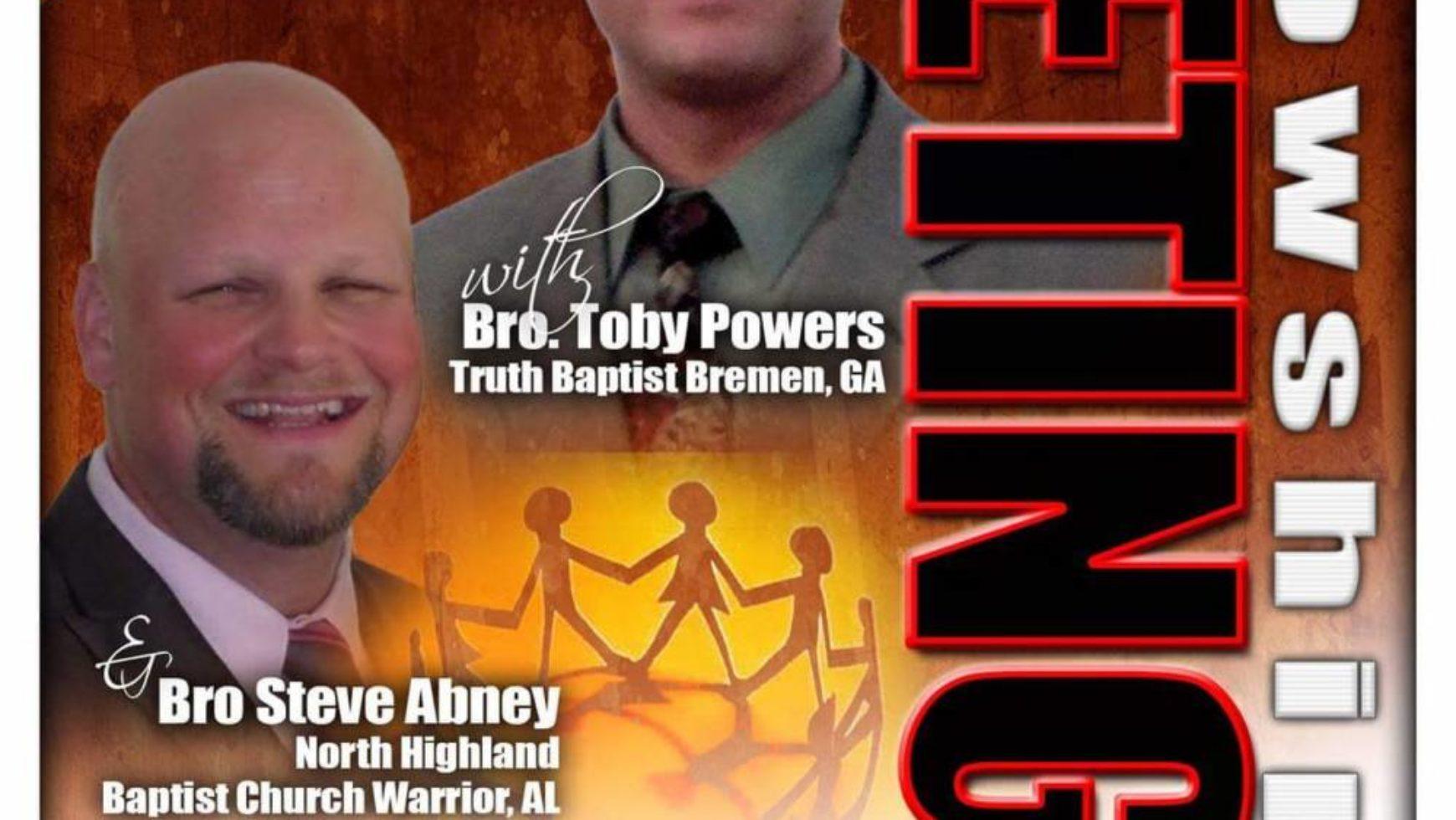 Area Meeting: Fellowship Meeting – New Prospect Baptist Church – Cullman, Al