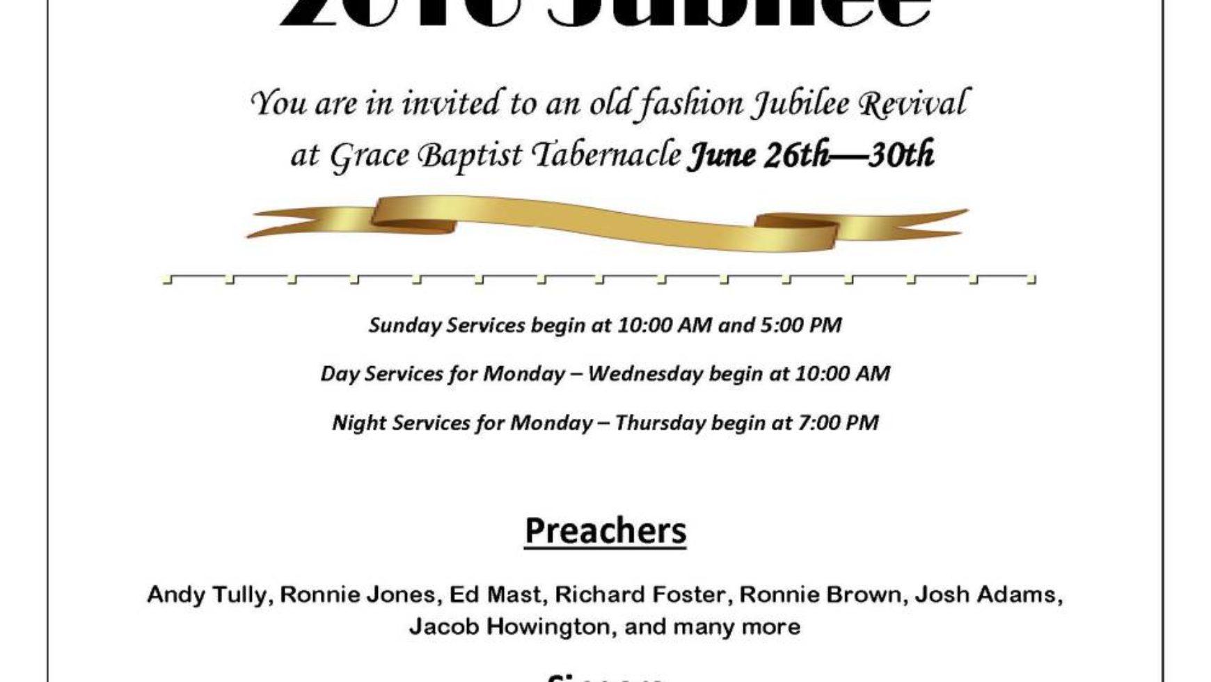 Area Meeting: Jubilee – Grace Baptist Tabernacle – Rock Spring, Ga