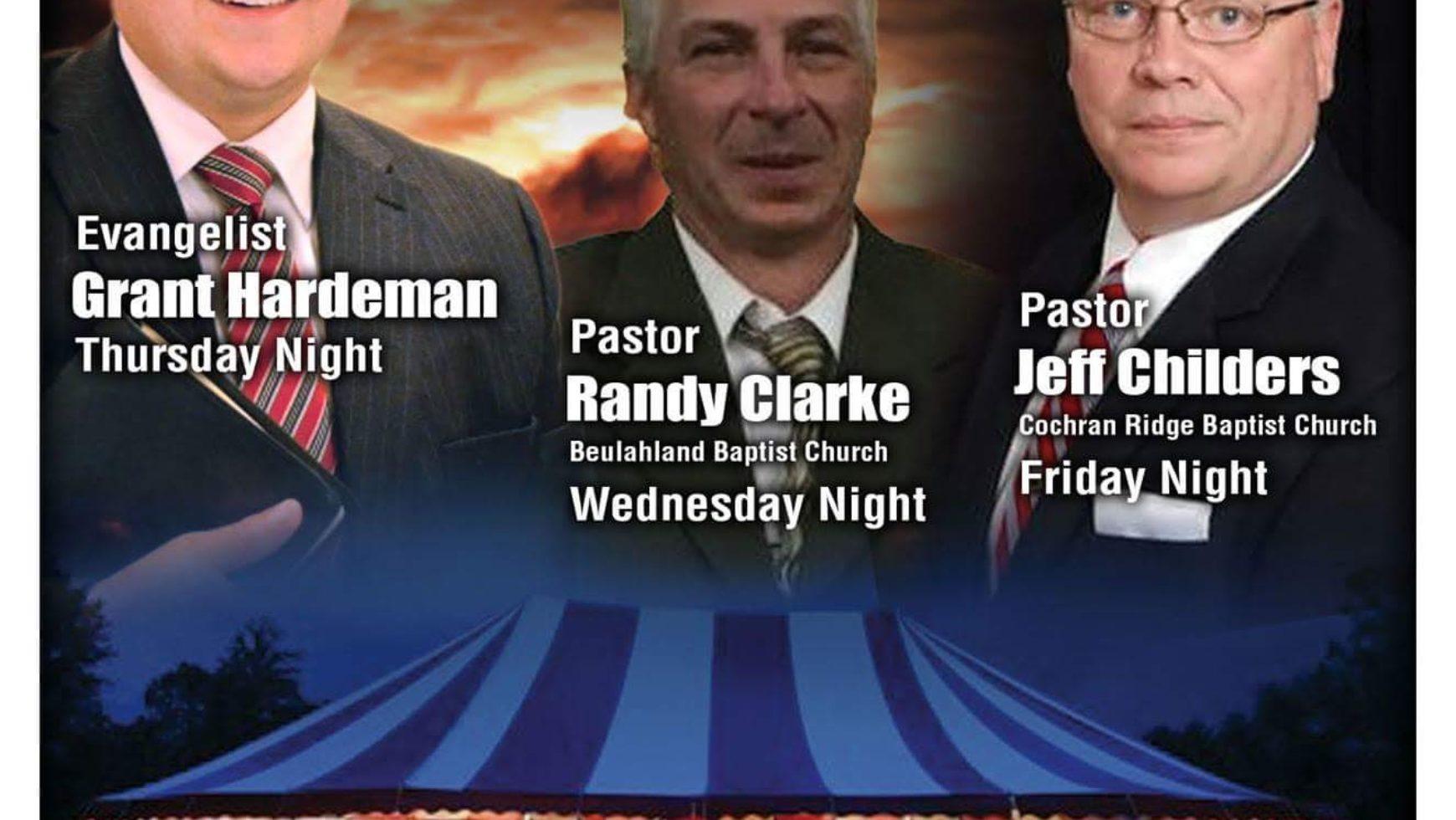 Area Meeting: Tent Revival – Nebo Baptist Church – Dallas, GA