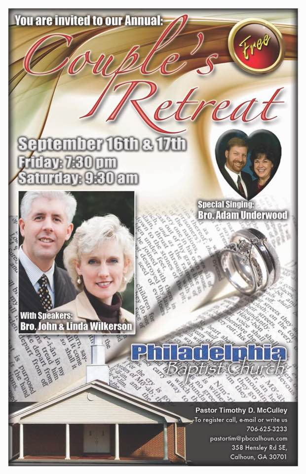 Area Workshop: Couple's Retreat – Philadelphia Baptist Church – Calhoun, Ga