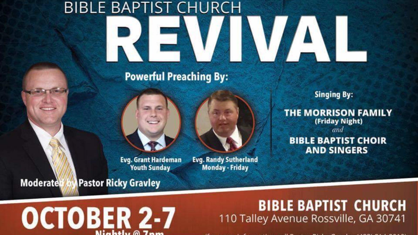 Area Meeting: Revival – Bible Baptist Church – Rossville, Ga