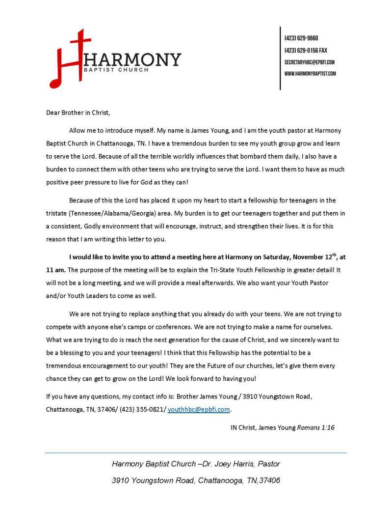 Area Meeting: Informational Meeting  – Harmony Baptist Church – Chattanooga, Tn