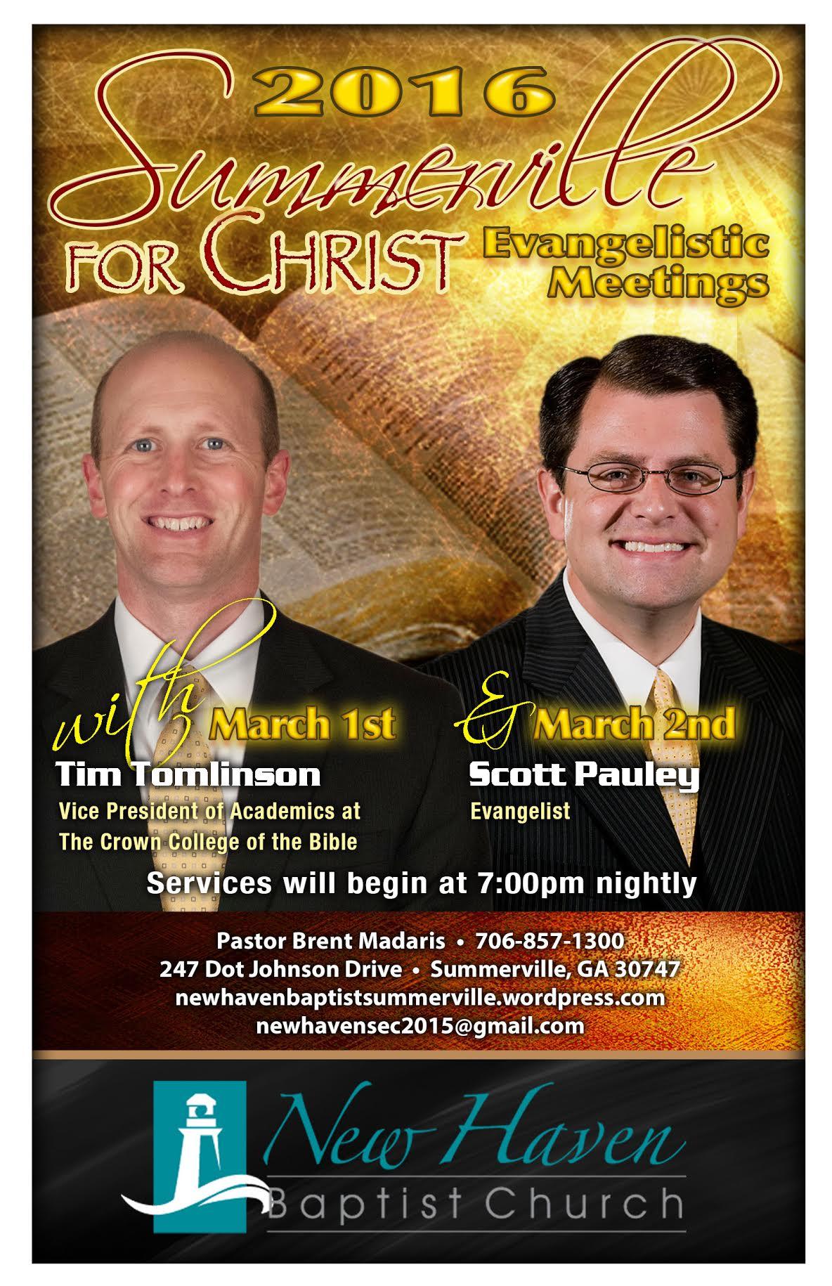 Area Meeting: 2016 Summerville for Christ Evangelistic Meetings – New Haven Baptist Church – Summerville, GA
