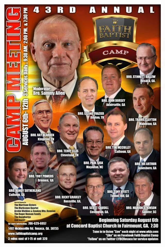 Area Meeting: Camp Meeting – Faith Baptist Camp – Resaca, Ga