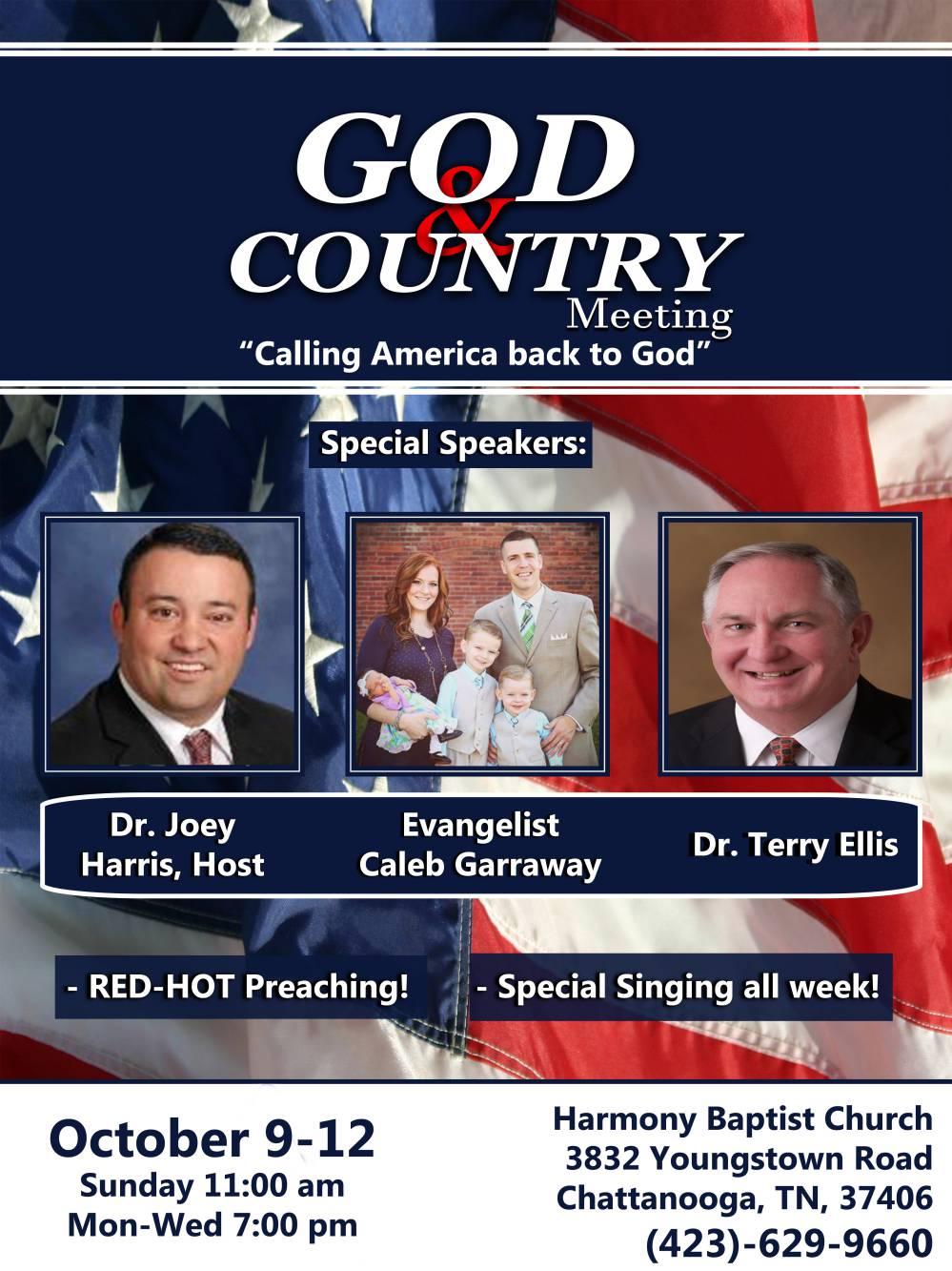 Area Meeting: God and Country Meeting – Harmony Baptist Church – Chattanooga, TN