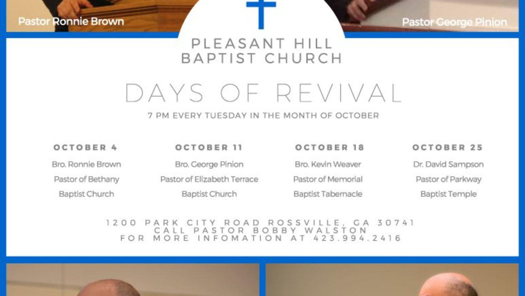 Area Meeting: Revival – Pleasant Hill Baptist Church – Rossville, Ga
